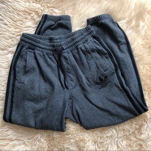Grey Adidas Classic Three Stripped Sweatpants